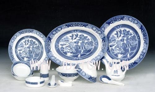 56头釉中彩中餐具《古典园林》